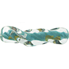 Murano Glass Bead Twisted Tube Vicenza Opaque Aqua Gold and Silver 40mm