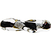 Murano Glass Bead Twisted Tube Vicenza Black Gold and Silver 40mm