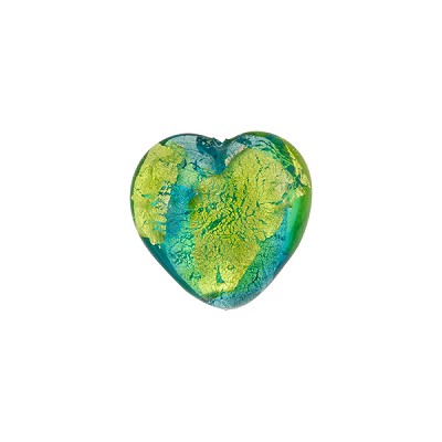 Murano Glass Bead Abstract Heart 13mm Aqua and Peridot Silver Foil