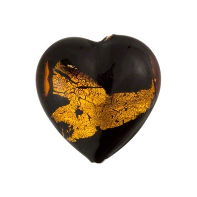 Murano Glass Bead Abstract Heart 19mm Black and Topaz with Silver Foil