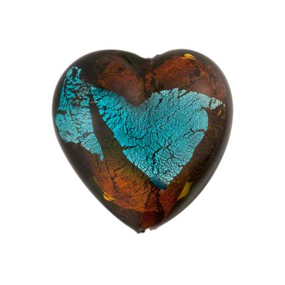 Murano Glass Bead Abstract Heart 19mm Topaz and Aqua with Silver Foil