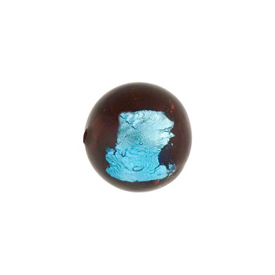 Murano Glass Bead Abstract Round 12mm Dark Topaz and Aqua with Silver Foil