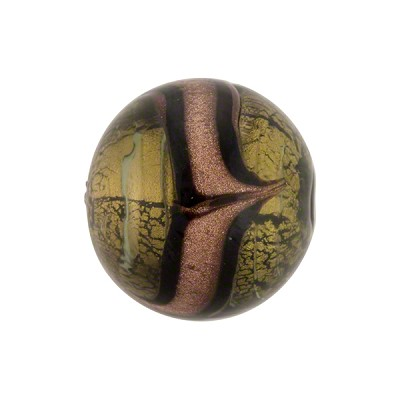 Murano Glass Bead Aventurina Sash Round Gold Foil 14mm Acciaio