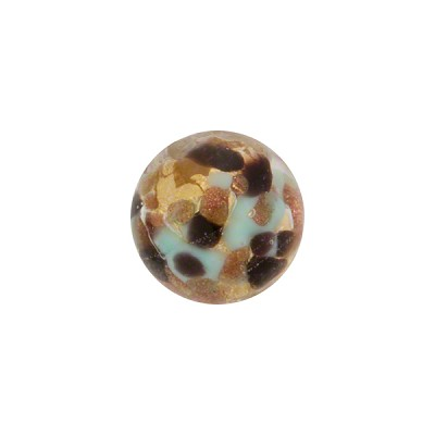 Aqua and Black Bead Avventurina Round 12mm 24kt Gold Foil, Murano Glass Bead