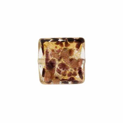Chocolate Dots & Splashes Square 12mm Aventurina, Venetian Glass Bead