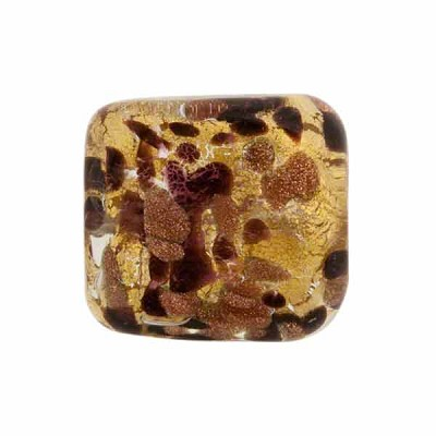 Venetian Glass Bead Gold Foil Square 18mm Chocolate Splashes