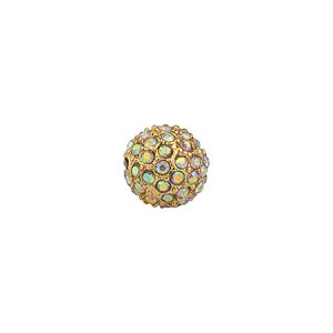 Beadelle Pave Bead, 10mm, Gold w/ Crystal AB
