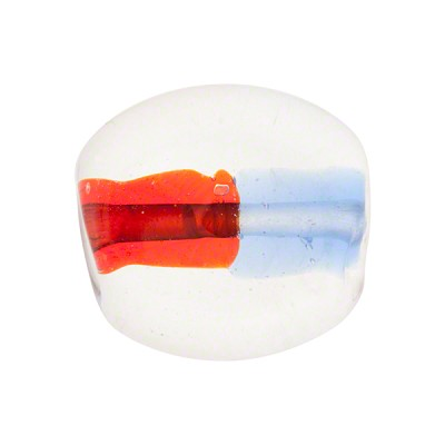 Blue Red Bicolor Oval Flat 20mm Murano Glass Bead