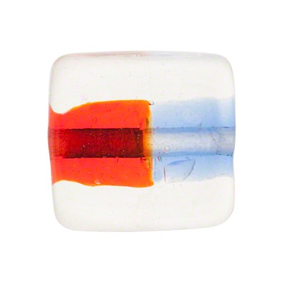 Blue Red Bicolor Square 20mm Murano Glass Bead