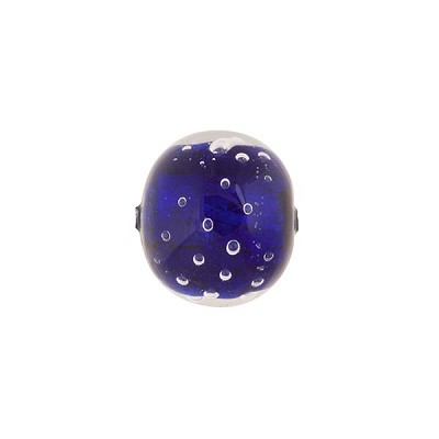 Venetian Bead Bollicine Round 12mm Cobalt over Silver Foil