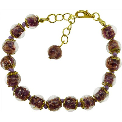 Light Amethyst Murano Glass Bead Bracelet 7.5 Inch  with 1 1/4 Inch Extender, Gold Tone Clasp Authentic Murano Glass Beaded