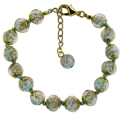 Light Opaque Aqua Murano Glass Bead Bracelet 7.5 Inch  with 1 1/4 Inch Extender, Gold Tone Clasp Authentic Murano Glass Beaded