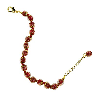 Rich Red Murano Glass Bead Bracelet 7.5 Inch  with 1 1/4 Inch Extender, Gold Tone Clasp Authentic Murano Glass Beaded