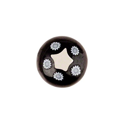 Murano Glass Millefiori Cabochon 14mm 5 Star Black Clear Center