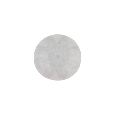 Murano Glass Millefiori Cabochon 14mm White Clear Flower