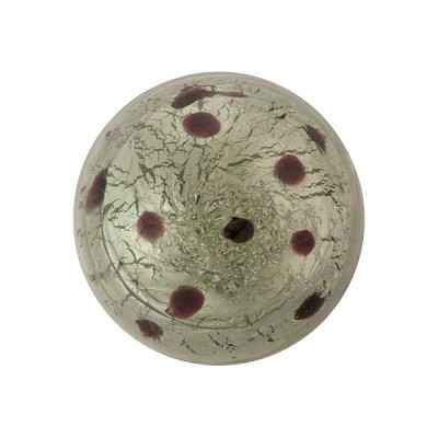 Gray Silver Foil Dots Cabochon 20mm Murano Glass Bead