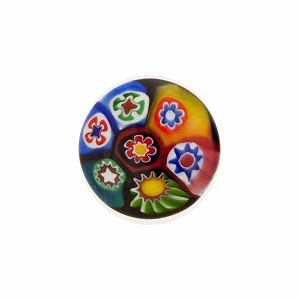 Venetian Glass Millefiori Cabochon Round 15mm Multi Bright