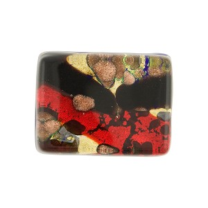 Red/Black Flat Back Cabochon Gold Foil 20x15