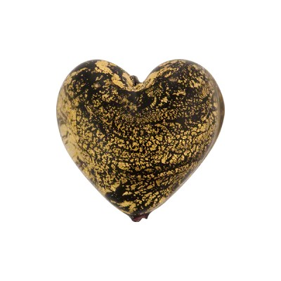 Black Ca'D'Oro Murano Glass Heart 17mm
