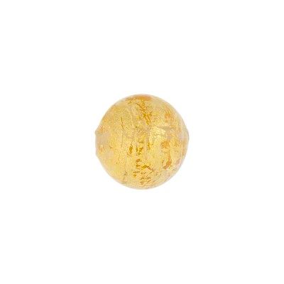 Ca'd'Oro Round Bead, 10mm, Clear & Gold, Murano Glass Bead