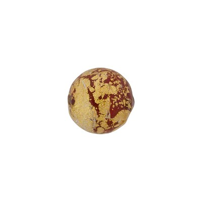 Murano Glass Ca'd'Oro 10mm Round Bead, Opaque Red and Gold