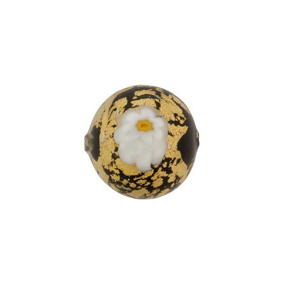 Ca'd'Oro Murano Glass Bead w/Millfiori Accent, 12mm Round, Gold over Black