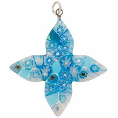 Murano Glass Millefiori Pointed Cross Pendant, 35mm, Aqua Flowers