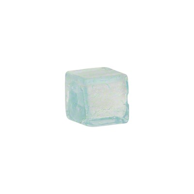 Aquamarine Silver Foil Cube 10mm, Murano Glass Bead