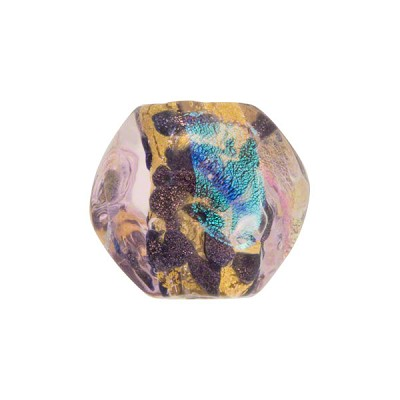 Venetian Bead Dichroic Sparkles Pebble 15mm, Rosato Gold