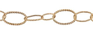 Antique Gold Twisted Cable Chain, Long/Short, Per Foot
