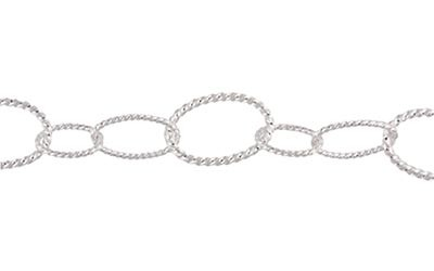 Silver Plated Twisted Cable Chain, Long/Short, Per Foot