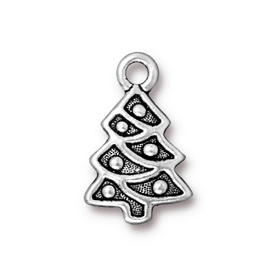 christmas tree charm silver plated pewter - Silver Plated Christmas Tree Decorations