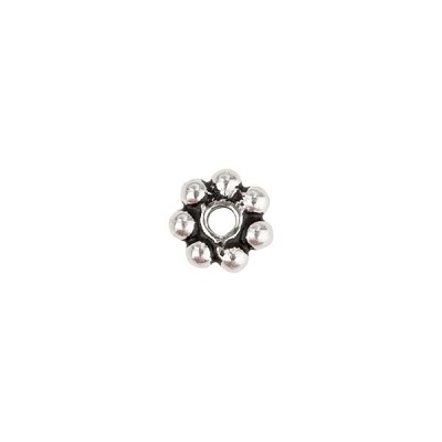 Sterling Silver Daisy Spacer Bead, 3mm, Antique Silver
