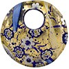 Fused Round Curved Murano Glass Pendant, 50mm, Blue Millefiori over Gold