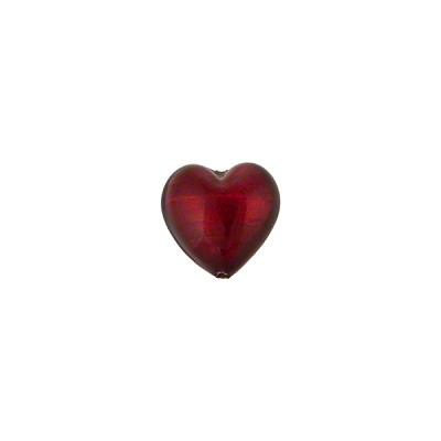 Red Gold Foil Heart 8mm Murano Glass
