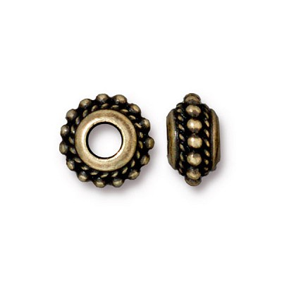 Brass Oxidized Plated Pewter Large Hole Dots Euro Bead