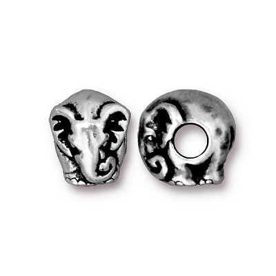Antique Silver Plated Pewter Large Hole Elephant Euro Bead