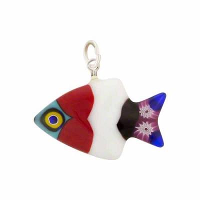 Fish pendants millefioriwholesale venetian glass beads murano glass venetian glass millefiori fish pendant pink red aqua aloadofball Images