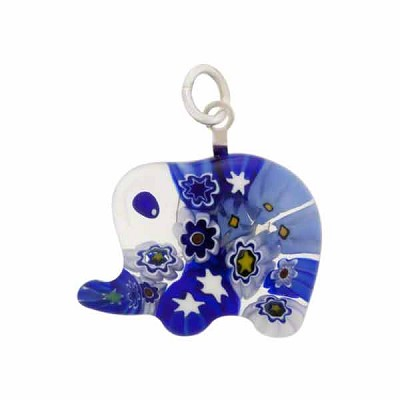 Millefiori elephantwholesale venetian glass beads murano glass murano glass millefiori elephant pendant blue aloadofball Images