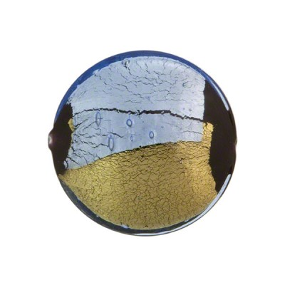 Blue Pezzato Murano Glass Disc 21m Gold & Silver Foil