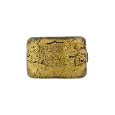 Gold Rectangle 14mm Olivine, Murano Glass Bead
