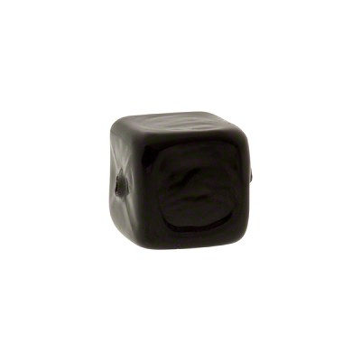 Murano Glass Solid Color Cube, 10mm, Black