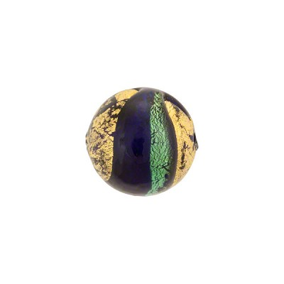 Aqua and Cobalt Sole Swirl 30mm 24kt Gold Foil Exposed, Murano Glass Bead