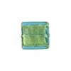 Light Aqua Gold Foil 14mm Square Venetian Bead
