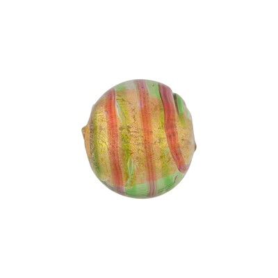 Green Rubino Gold Foil Double Stripes Tigrato 164mm Round Venetian Bead