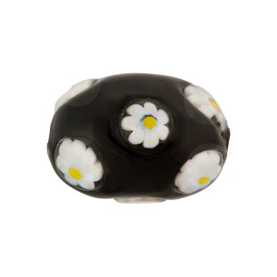Black with White Daisy Murano Glass Oval Millefiori 20mm