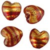 Special Red/Gold Striped Heart 13mm