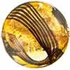 Murano Glass Bead Topaz Gold Foil, Black Filigrana Disc 23mm