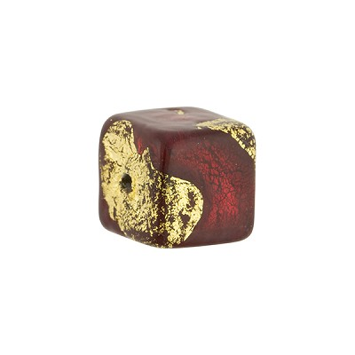 Sole Ruby and Exterior Gold Foil Cube 12x12mm Murano Glass Bead