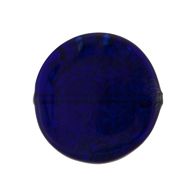 Cobalt Blue Coin Straight Sides Gold Foil  Murano Glass 20mm